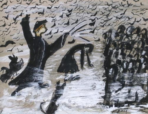 Quand les corbeaux ont faim, ils viennent sur la terre. Un tas de gens malheureux, 2001. Gouache sur carton, 34,5x42 cm