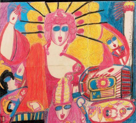 Fleurir l'Amérique Président Stubborn, 4e période : 1951-1960, crayons de couleur sur trois feuilles de papier cousues ensemble.
